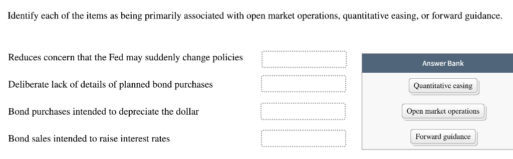 Identify each of the items as being primarily associated with open market operations, quantitative easing, or forward guidance. Reduces concern that the Fed may suddenly change policies Deliberate lack of details of planned bond purchases Bond purchases intended to depreciate the dollar Answer Bank Quantitative easing Open market operations Bond sales intended to raise interest rates Forward guidance