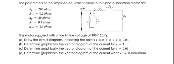 Question: The parameters of the simplified equivalent circuit of a 3-phase induction motor are: Ra200 ohms .