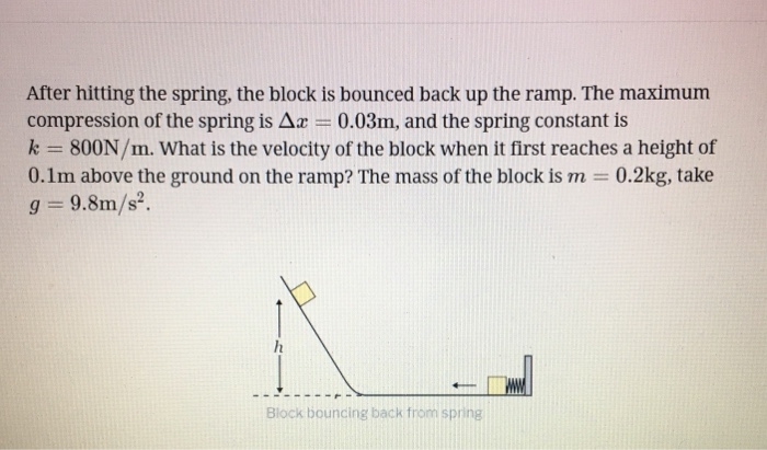 After hitting the spring, the block is bounced back up the ramp. The maximum