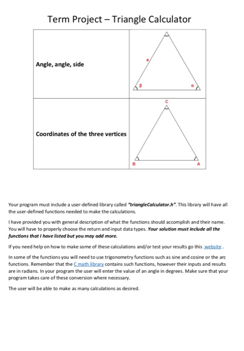 Term Project Triangle Calculator Write A Program T