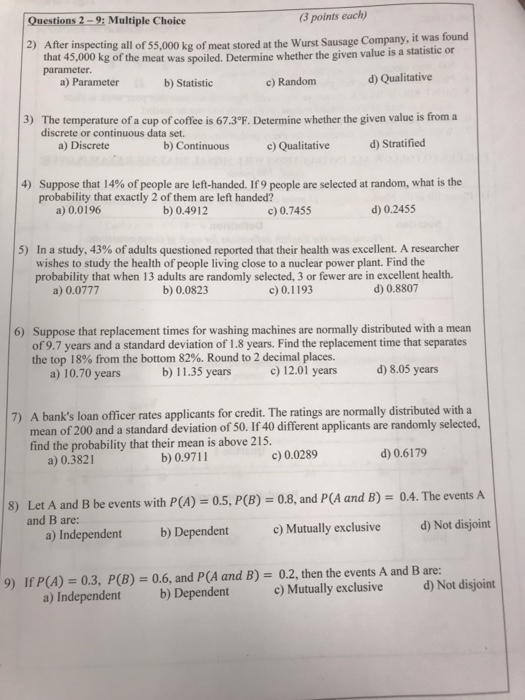 Solved: Questions 2-9: Multiple Choice (3 Points Each) 2 ...