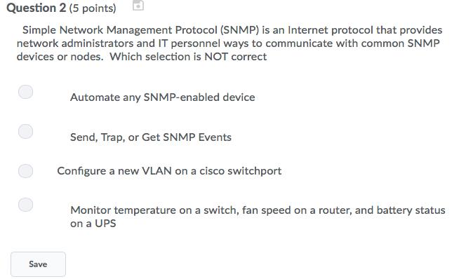 Solved: Question 2 (5 Points) Simple Network Management Pr