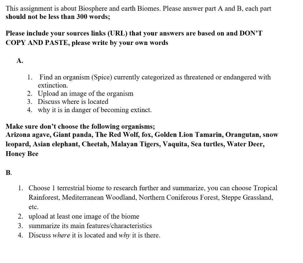 Solved: This Assignment Is About Biosphere And Earth Biome