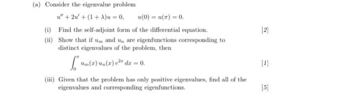 Solved: Consider The Eigenvalue Problem U