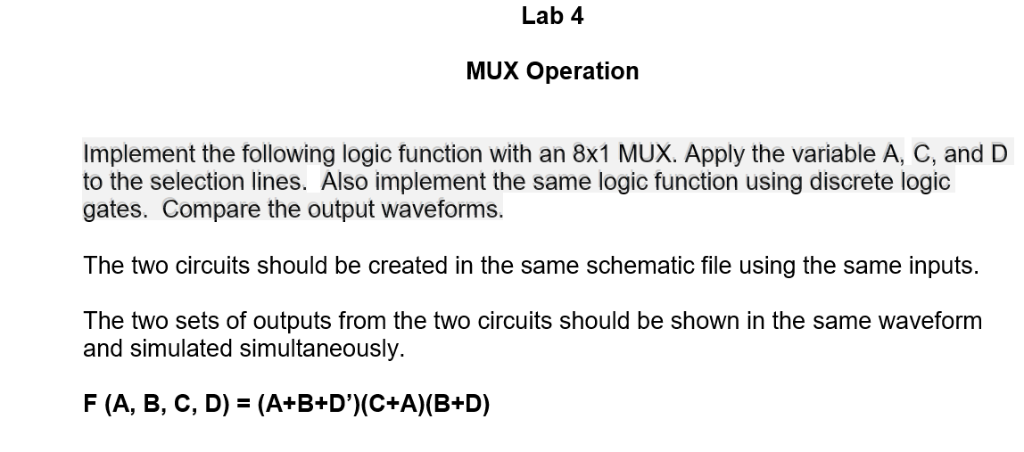 Pleasant Solved Lab 4 Mux Operation Implement The Following Logic Home Remodeling Inspirations Genioncuboardxyz