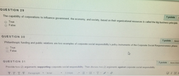 Question 29 The Capability Of Corporations To Influence 1 Points True Government Economy