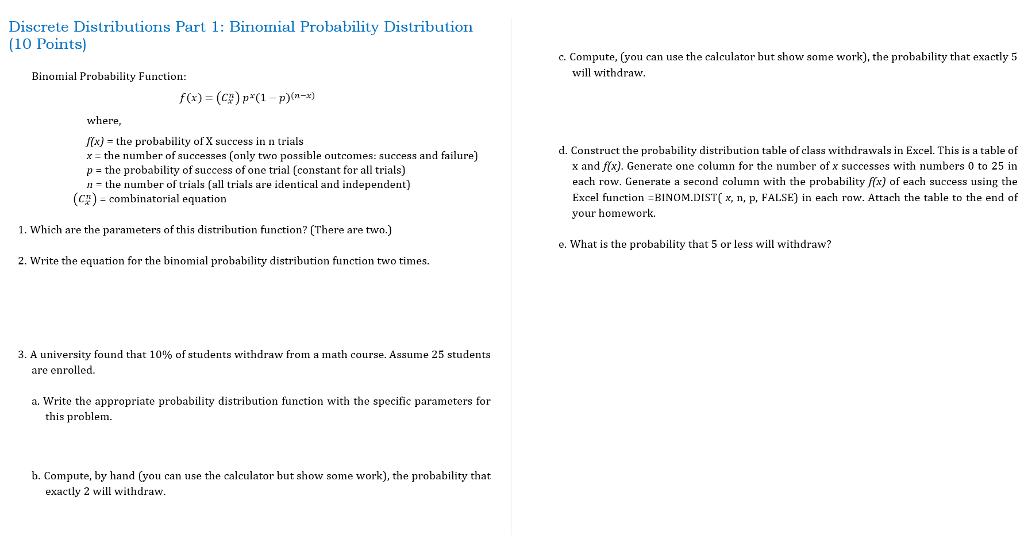 Solved Discrete Distributions Part 1 Binomial Probabilit