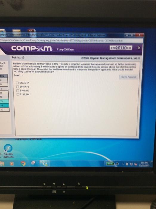 Solved: Comp-XM Exam Points: 10 02006 Capsim Management Si