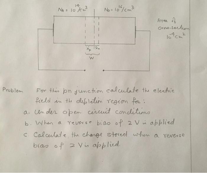 14 NA= 10 /0m No=10%cm3 Area Crno-seckm For thin pn dunction calculate th electue Pield in th dafp letim region for a. Un der