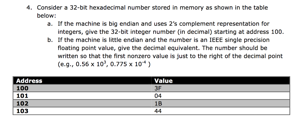 Solved: 4  Consider A 32-bit Hexadecimal Number Stored In