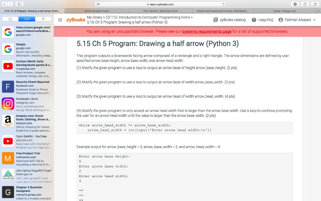 Solved 515 Ch 5 Program Drawing A Haif Arrow Pyth
