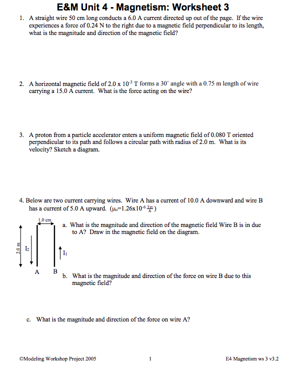 Solved: E&M Unit 4 - Magnetism: Worksheet 3 A Straight Wir ...