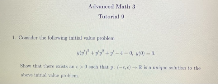 Solved: Advanced Math 3 Tutorial 9 1  Consider The Followi