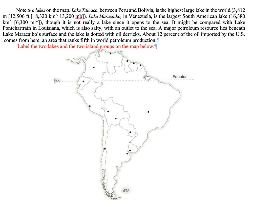 Solved: Note Two Lakes On The Map. Lake Titicaca, Between ...