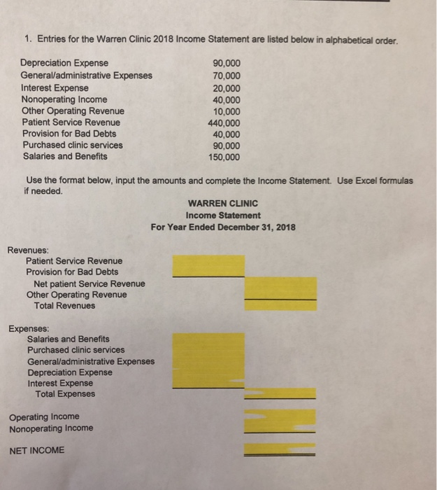 1. Entries for the Warren Clinic 2018 Income Statement are listed below in alphabetical order Depreciation Expense General/administrative Expenses Interest Expense Nonoperating Income Other Operating Revenue Patient Service Revenue Provision for Bad Debts Purchased clinic services Salaries and Benefits 90,000 70,000 20,000 40,000 10,000 440,000 40,000 90,000 150,000 Use the format below, input the amounts and complete the Income Statement. Use Excel formulas if needed. WARREN CLINIC Income Statement For Year Ended December 31, 2018 Revenues Patient Service Revenue Provision for Bad Debts Net patient Service Revenue Other Operating Revenue Total Revenues Expenses Salaries and Benefits Purchased clinic services General/administrative Expenses Depreciation Expense Interest Expense Total Expenses Operating Income Nonoperating Income NET INCOME
