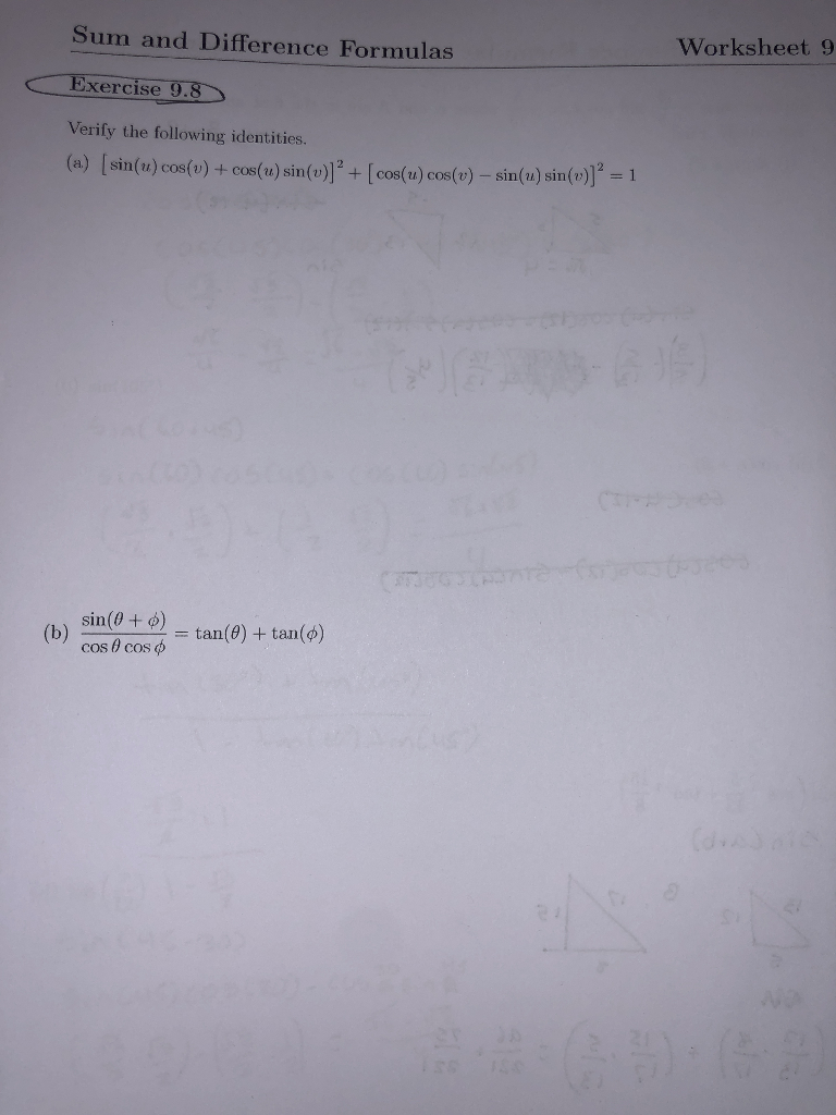 Precalculus Sum And Difference Identities Worksheet - Geotwitter ...