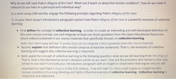 Good High School Essay Examples Why Do We Still Read Platos Allegory Of The Cave What Can Itteach Us About My Country Sri Lanka Essay English also Compare Contrast Essay Examples High School Solved Why Do We Still Read Platos Allegory Of The Cave  College Writing Helper