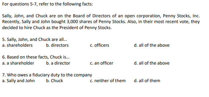 Solved: For Questions 5-7, Refer To The Following Facts: S