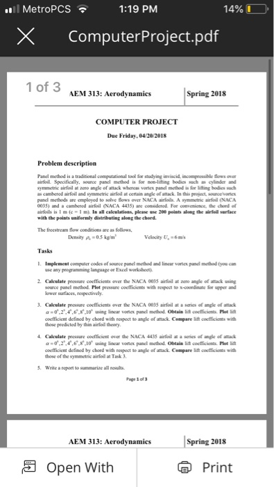MetroPCS 1:19 PM 14% LO XComputerProject pdf 1 Of