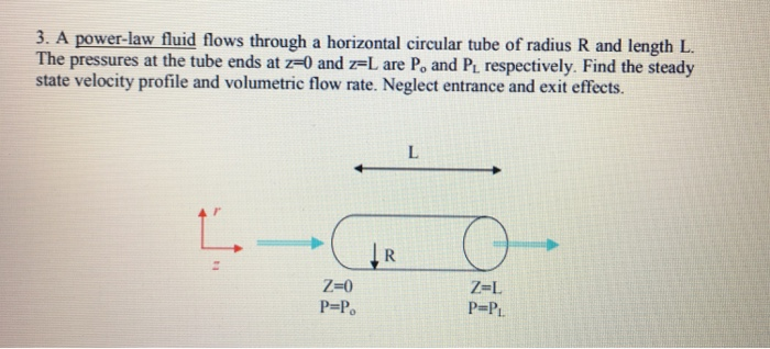 3. A power-law fluid flows through a horizontal circular tube of radius R and length L The pressures at the tube ends at z-0 and z-L are Po and Pi respectively. Find the steady state velocity profile and volumetric flow rate. Neglect entrance and exit effects. Z-0 P=Po Z-L P=Pi.