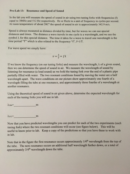 Solved Pre Lab 13 Resonance And Speed Of Sound In The La