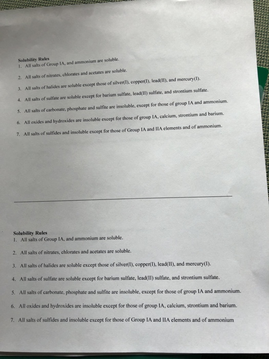 Solved: Name: Net Ionic Equation Worksheet Period: Date: W ...