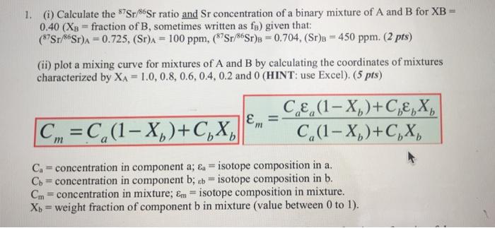 1  (i) Calculate The Sr/86Sr Ratio And Sr Concentr