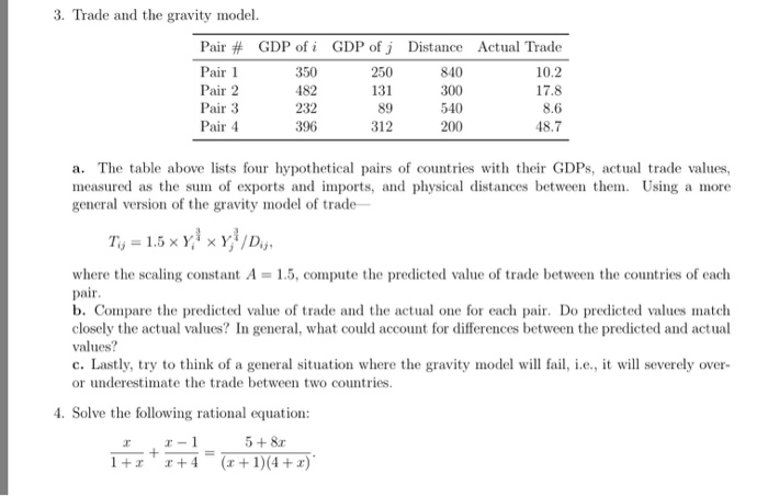 solved 3 trade and the gravity model pair gdp of i 35