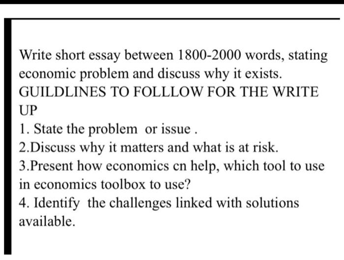 essay about economic problem