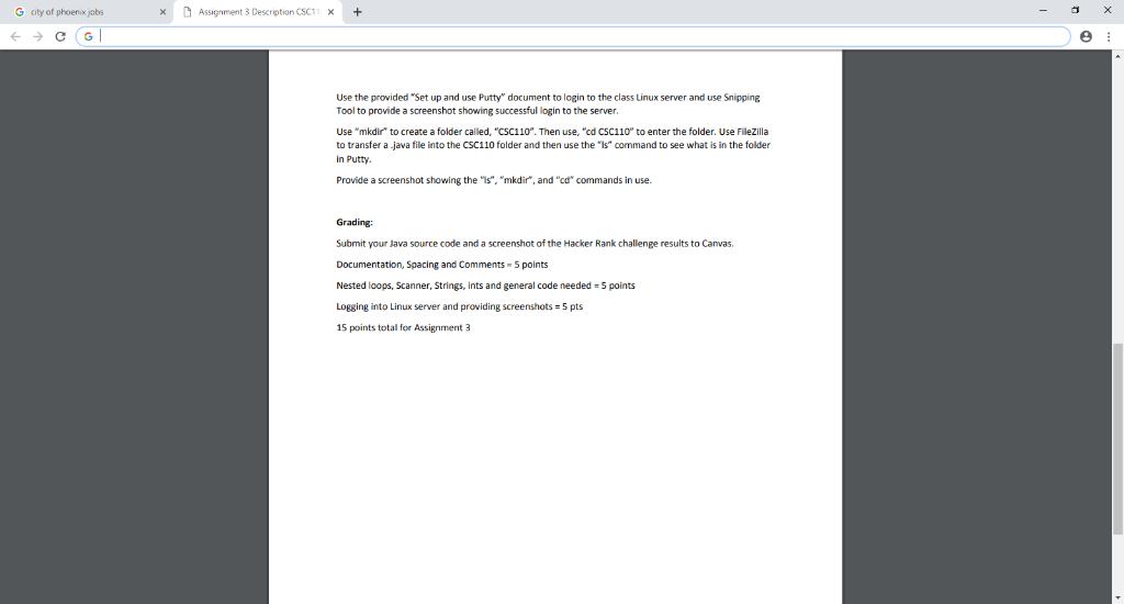 G City Of Phoenix Jobs Assignment 3 Description CS      Chegg com