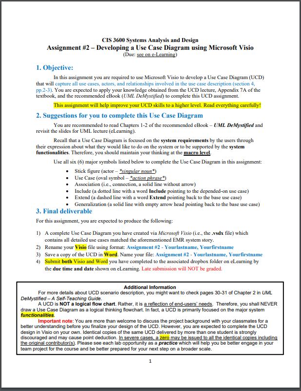 Cis 3600 Systems Analysis And Design Assignment 2 Chegg Com