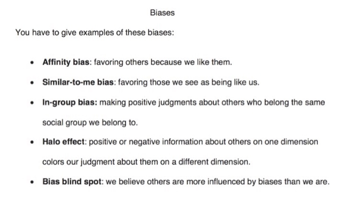 Solved Biases You Have To Give Examples Of These Biases