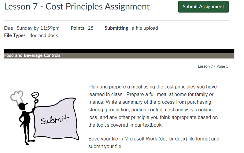 Hospitality Management Lesson 7 - Cost Principles