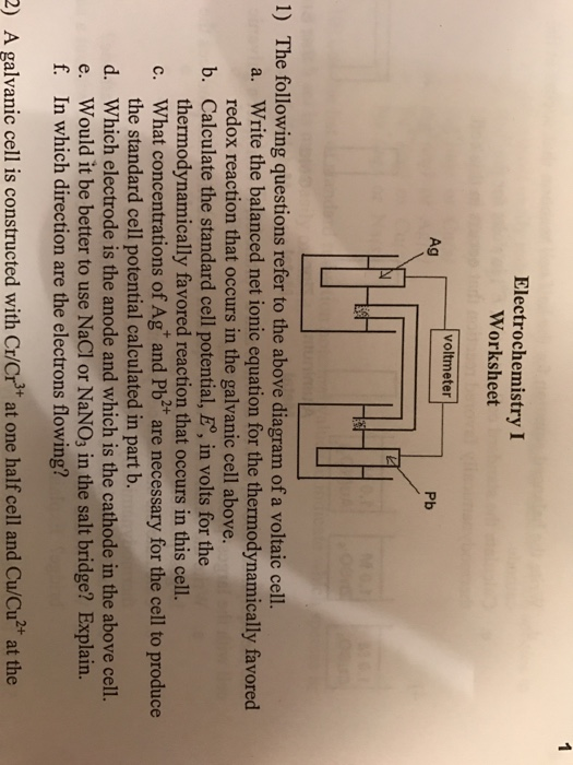 Solved the following questions refer to the above diagram electrochemistry i worksheet voltmeter ag pb 1 the following questions refer to the above diagram ccuart Image collections