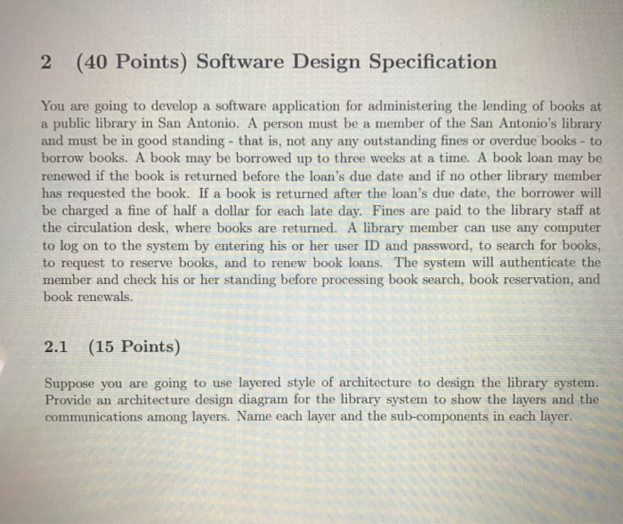 Solved: 2 (40 Points) Software Design Specification You Ar
