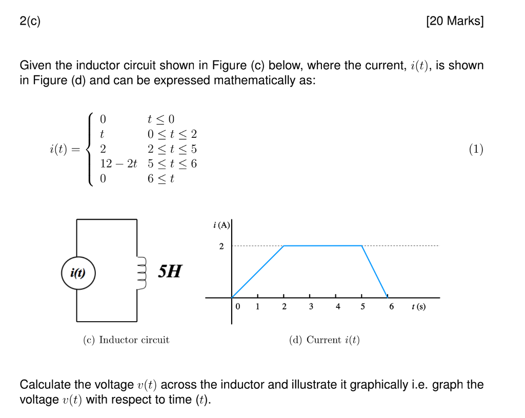 Solved 2c 20 Marks Given The Inductor Circuit Shown I Diagram In Figure