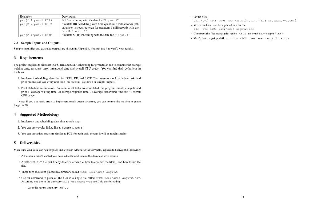 Examples Proj2 Input 1 FCFS Proj2 Input 1 RR 2 - T