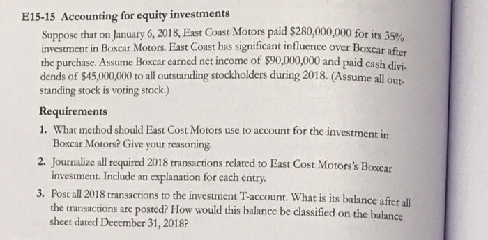 East Coast Motors >> Solved E15 15 Accounting For Equity Investments Suppose T