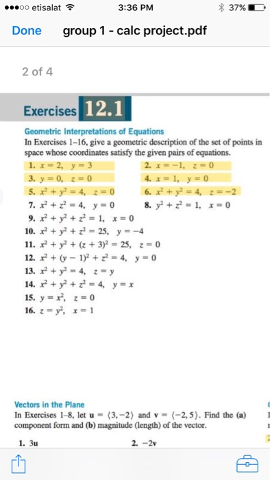 Solved: In Exercises 1-16  Give A Geometric Description Of