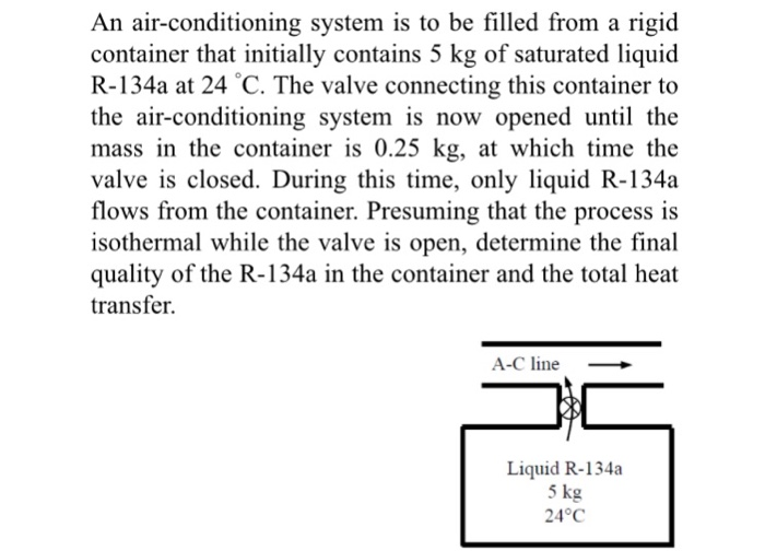 Solved: An Air-conditioning System Is To Be Filled From A