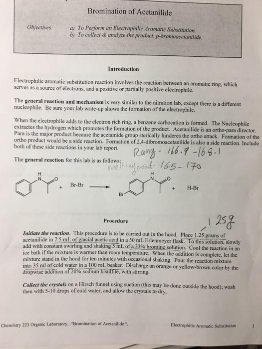 mechanism of p bromoacetanilide from acetanilide