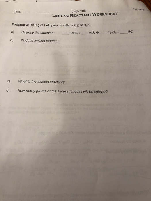 Solved Chapter 9 Name Chemistry Limiting Reactant Worksh