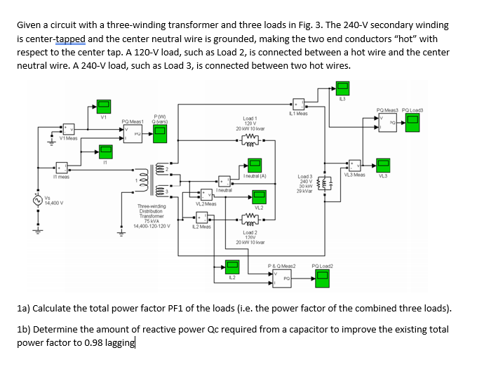 given a circuit with a three-winding transformer and three loads in fig  3