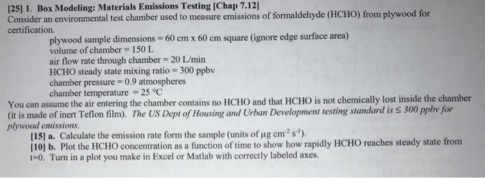 125] 1. Box Modeling: Materials Emissions Testing ... | Chegg.com