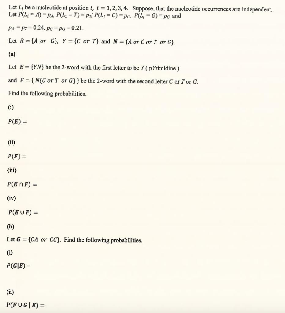 Solved: Let Lt Be A Nucleotide At Position I, 1,2,3,4. Sup