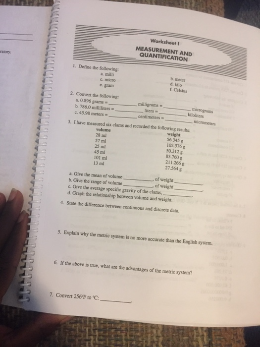 Solved Worksheet Measurement And Quantification Ratory 1 Chegg Com