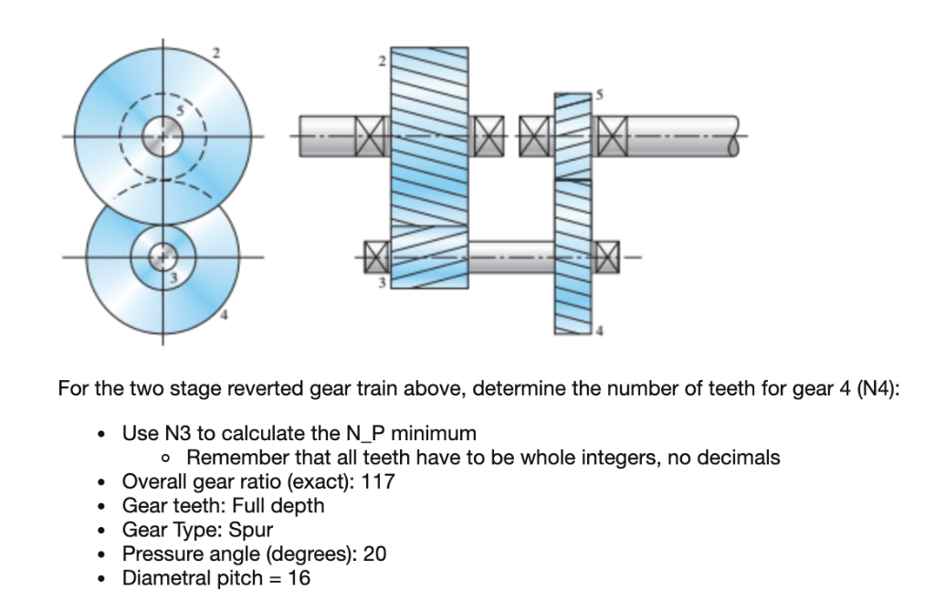 2 3 for the two stage reverted gear train above, determine the number of  teeth