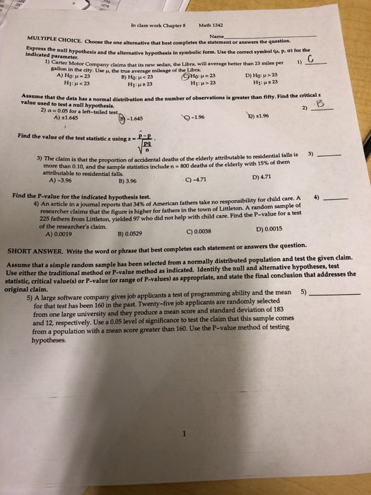 Solved: In Class Work Chapter 8 Math 1342 MULTIPLE CHOICE
