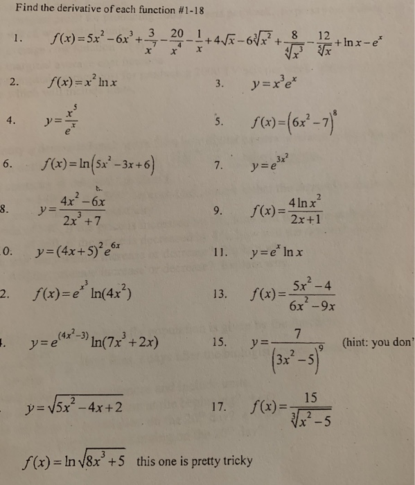 Solved: Find The Derivative Of Each Function #1-18 /(x