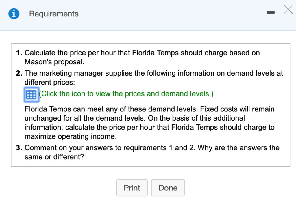 Solved: Florida Temps, A Large Labor Contractor, Supplies